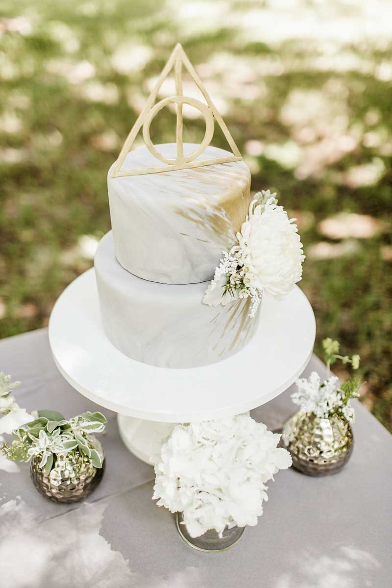Silver Marble Wedding Cake With Gold Detail