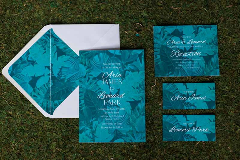 tropical wedding invitation suite for mermaid inspired wedding shoot
