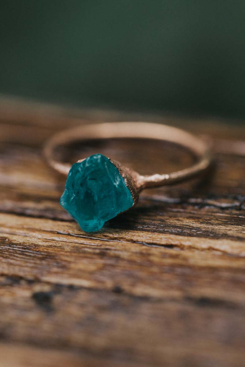 teal rock engagement ring