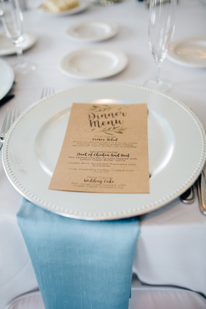 Dinner menu on silver charger